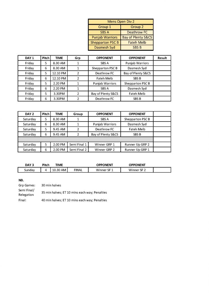 2017 ASG Soccer Mens Open Div 2 Fixture